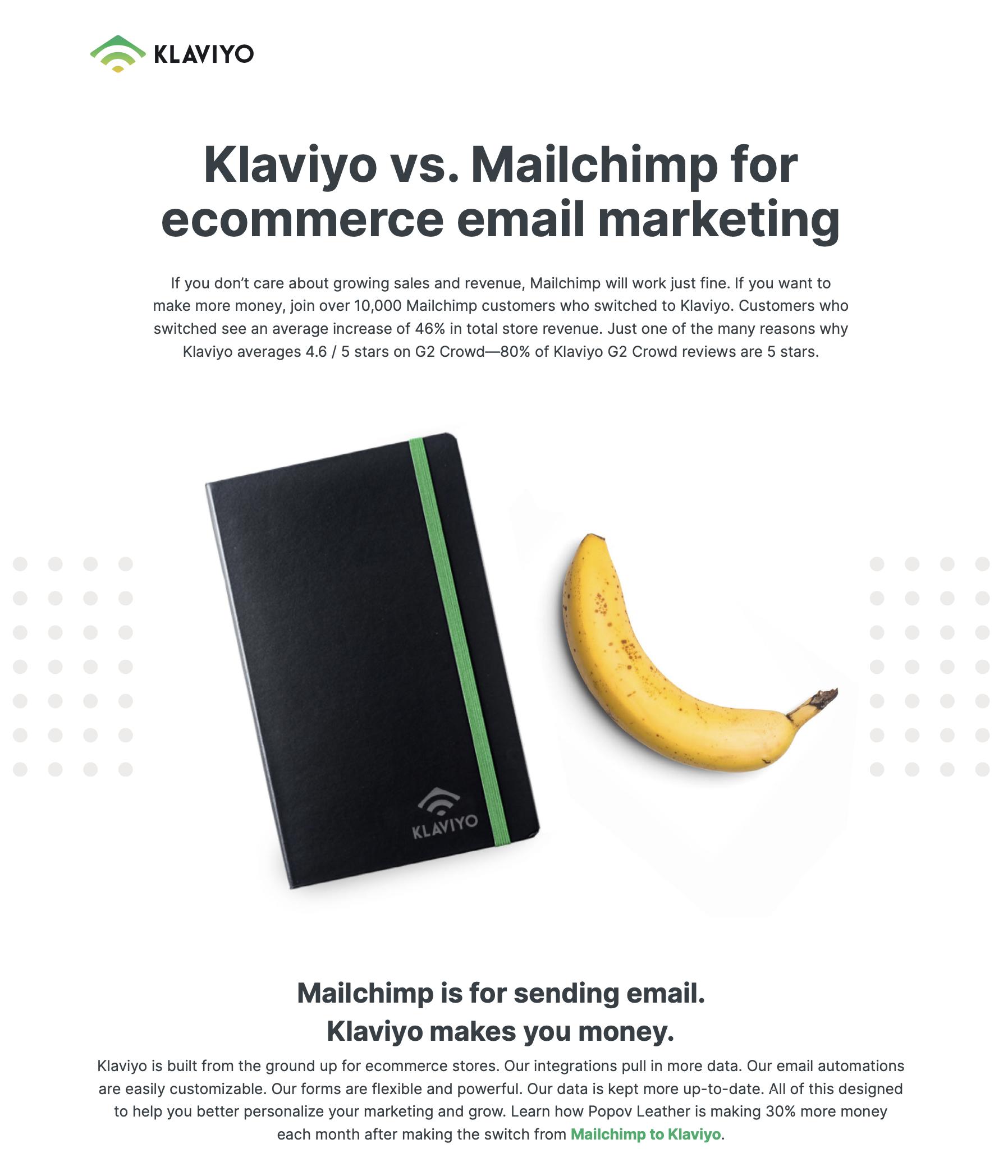 Klaviyo vs. Mailchimp Preview
