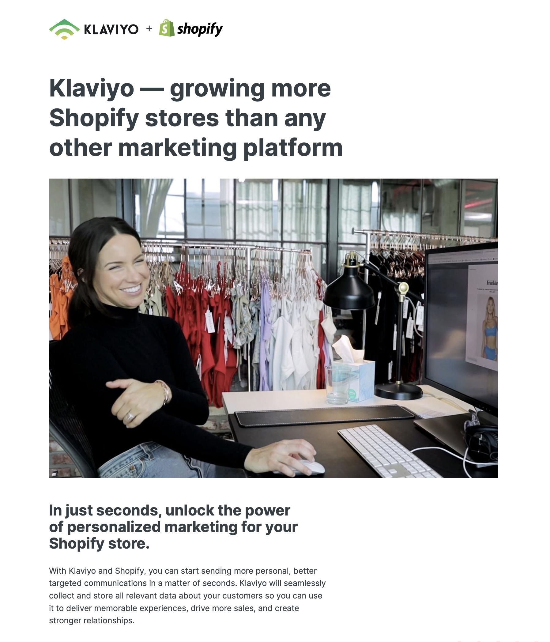 klaviyo with shopify global